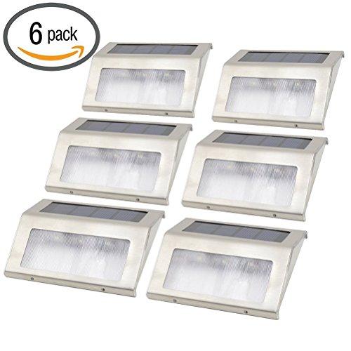 LEDMOMO Solar Step Lights - 3 LEDs Outdoor Escaliers Pathway Deck Lampes de jardin, Pack of 6 (White Light)