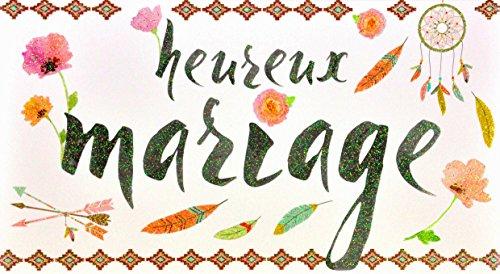 afie 69-4221 wenskaart bruiloft pailletten indianen veer dromenvanger bloemen roze bladeren parel pijl geometrisch patroon