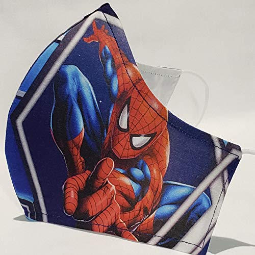 Handmade Cotton Face Mask with Filter Pocket, 3 Layers, Spider Man, Superhero, Marvel, Unisex