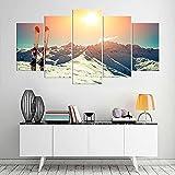 KOPASD Impresión HD Pintura 5 Partes Esquís en el Equipo de Deportes de Nieve Mural no Tejido Impresión Moderno Ilustraciones,para CAS Decoración Innovador Regalo(Sin Marco)