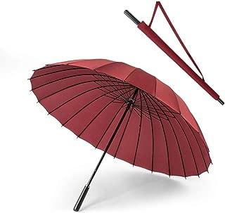 Sumeber 長傘 24本骨雨傘 和傘 大きな傘 超軽量 和風傘 ステッキ傘 紳士傘 耐風傘 レディース傘 メンズ傘 グラスファイバー骨 撥水加工 梅雨対策 豪雨対策 通勤通学(ブラック) (ワインレッド)