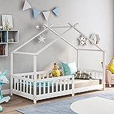 Kinderbett,Schönes Hausbett,Vollholz mit Zaun und Lattenrost, mit Rausfallschutz für Kinder- und Jugendzimmer (Weiß, 90 X 200 cm)