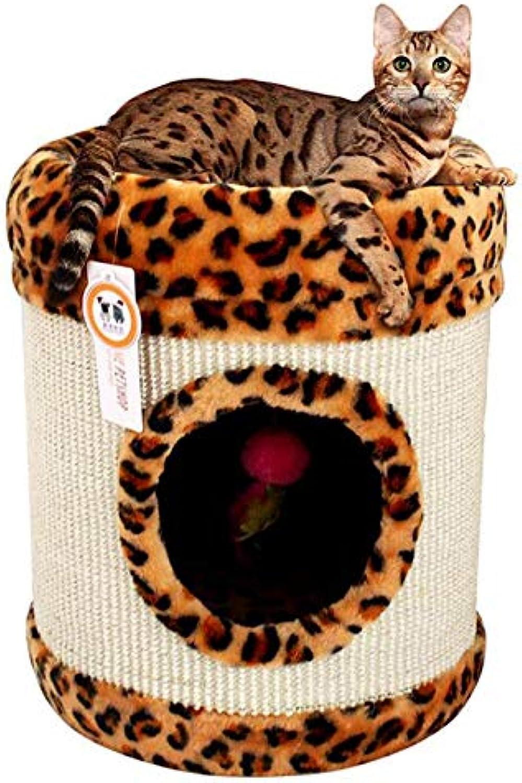 Ahn Classic Leopard Sisal Bucket Comfortable Cat Litter Cat Crawling Cat Tunnel Toy
