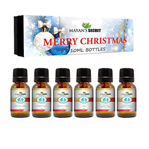 Premium Grade Fragrance Oil -Merry Christmas - Gift Set 6/10ml Cotton Candy, Bubble Gum, Monkey Farts, Cake, Salton Water taffy, Christmas Ribbon Candy