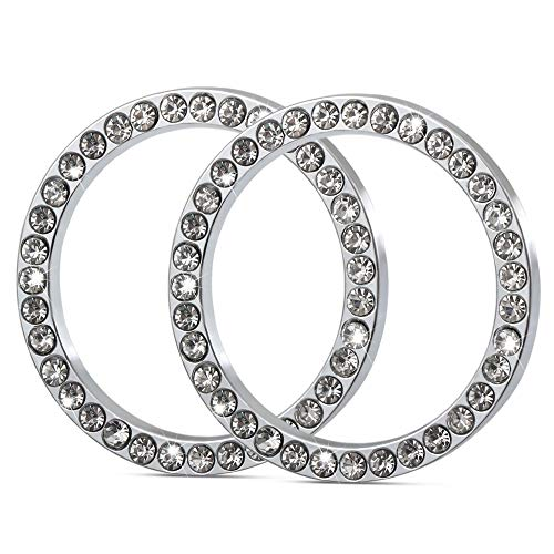 2Pcs Car Decor Crystal Rhinestone, Auto Engine Start Stop Decoration Crystal Interior Ring for Dodge Charger, Challenger, Dakota, Rims, Viper, Dart, Journey, Ram 1500 2500 3500, Journey, Durango,etc