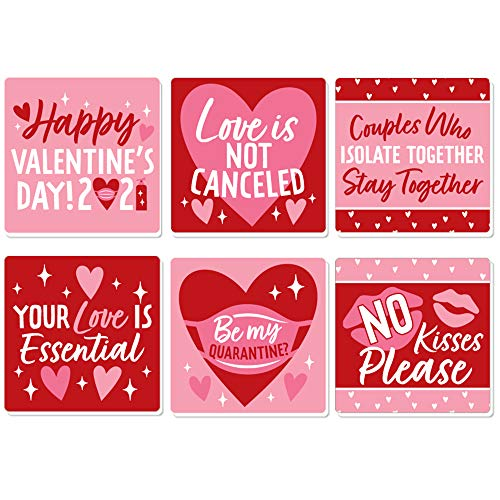 Big Dot of Happiness Quarantine Valentine - Funny 2021 Valentine's Day Party Decorations - Drink Coasters - Set of 6