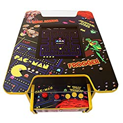 """Full size cocktail table style arcade games machine for 1 or 2 players 60 classic games in one - choose free play mode or activate the coin mechanism for use with most coins Large 19"""" LCD display screen & 6mm toughened safety glass covers the top Inc..."""
