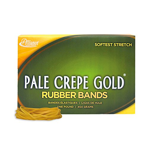 """Alliance Rubber 20185 Pale Crepe Gold Rubber Bands Size #18, 1 lb Box Contains Approx. 2205 Bands (3"""" x 1/16"""", Golden Crepe)"""
