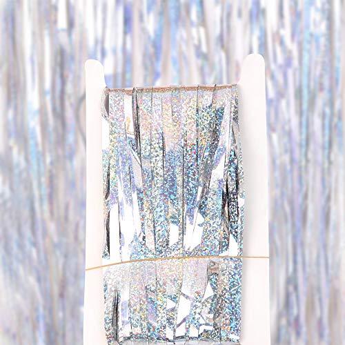 Macabolo Metalen Tinsel Gordijnen, Foil Fringe Gordijn voor Bruiloft Partij Wanddecoratie Photo Booth Backdrop Tinsel Glitter Gordijn 1 * 2 meters ZILVER