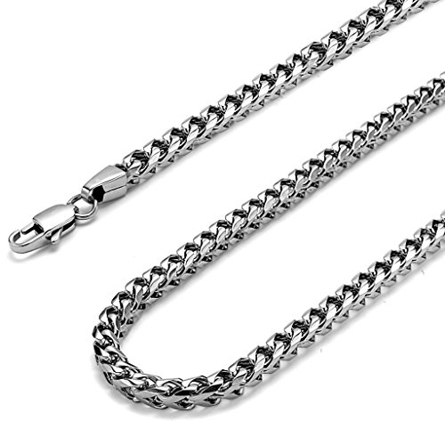 FIBO STEEL 6MM Curb Chain Necklace for Men Stainless Steel Biker Punk Style, 36 inches