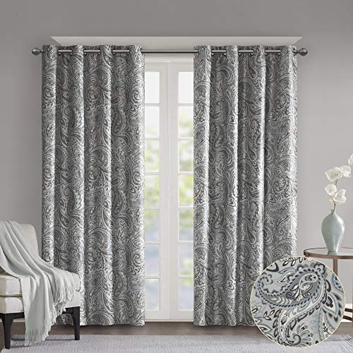 SUNSMART Jenelle Paisley Total Blackout Window Curtains for Bedroom, Living Room, Kitchen, Faux Silk with Traditional Grommet, Energy Savings Curtain Panels, 1-Panel Pack, 50x84, Grey