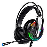 Gaming Headset with Microphone, PS4 Headset Xbox One Headset with RGB Light, Wired PC Headset with 7.1 Stereo Surround Sound, Over-Ear Headphones for PC, PS4, Xbox One, Laptop