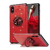 Kompatibel mit iPhone XR Hülle, Obesky Luxus Bling Glitzer Weich TPU Silikon Bumper mit Diamant Strass Drehbarer Ring Ständer Stoßfest Schutzhülle für Apple iPhone XR, Rot
