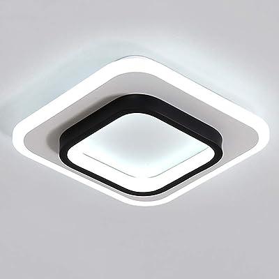 Moderne LED Couloir Entrée Plafonniers 20W Noir Blanc Conception Spots De Plafond Rond Vestiaire Lampes Décoration Balcon Studio Appliques Ø25CM(3000K-6000K) Avec Interrupteur Mural,B ø25*7cm 23w