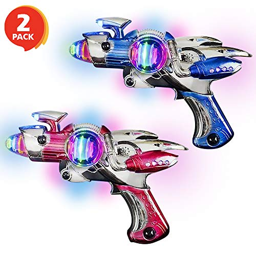 ArtCreativity Red and Blue Super Spinning Space Blaster Laser Gun Set with Flashing LEDs and Sound Effects  Pack of 2  Cool Futuristic Toy Guns  Batteries Included  Great Gift Idea for Kids