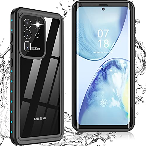 Nineasy for Samsung Galaxy S20 Ultra Case Waterproof, Built-in Screen Protector Heavy Duty Full Body Protective Shockproof Dustproof IP68 Underwater Clear Phone Case for Galaxy S20 Ultra 5G 6.9inch