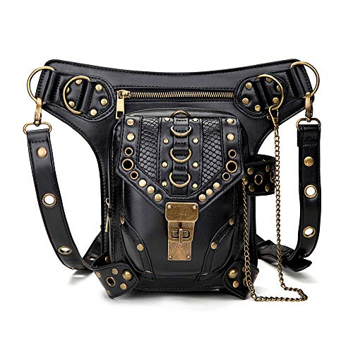 Steampunk Retro Waist Bags PU Leather Gothic Motorcycle Bag Goth Shoulder Packs Backpack