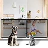 Lfnny Puerta para Mascotas para Perros, Protección De Seguridad para Mascotas, Puerta De Malla para Perros, Puertas De Seguridad para Niños Plegables Portátiles (Zipper Style-Black)