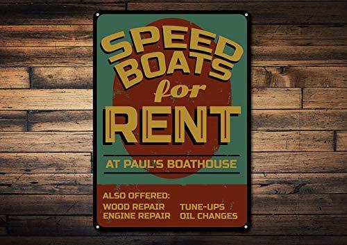Domwtyrper Speed Boat Schild, Custom Speed Boats for Miet, Lake House Schild, Lake House Decor, Bootshaus Namenschild – Neuheit Aluminium Boot Mieten