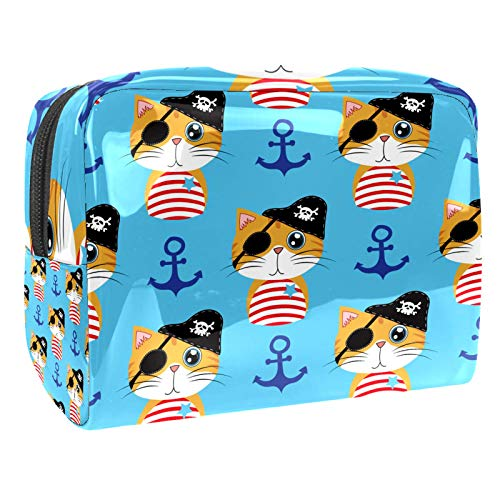 Portable Makeup Bag with Zipper Travel Toiletry Bag for Women Handy Storage Cosmetic Pouch Pirate Ship Anchor Cat Blue Background