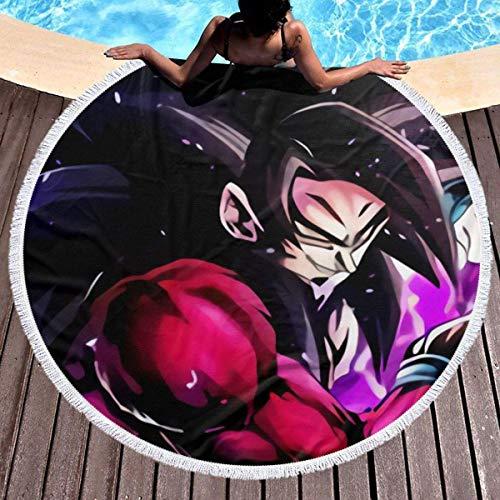 Dragon Ball Z Super Goku Toalla de playa redonda de gran tamaño Ultra absorbente de agua Manta de microfibra suave Toalla de playa Estera de yoga Decoración del hogar Estera de picnic Cubierta de cama