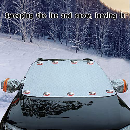 Huhu833 Magnetisch Windschutzscheibe Abdeckung, 240 x 120 cm Frontscheibenabdeckung Auto Winterabdeckung Frostschutz Eisschutz Frontscheibe Abdeckung Sonnenschutz Schneeschutz (Grau)