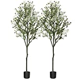 CROSOFMI Artificial Olive Tree Plant 5.9 Feet Fake Topiary Silk Tree, Perfect Faux Plants in Pot for Indoor Outdoor House Home Office Garden Modern Decoration Housewarming Gift,2 Pack