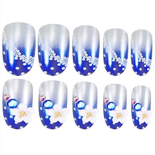 Beaupretty 24 Stuks Kunstmatige Vingernagels Faux Korte Nagel Tips Kit Bloem Patroon Nagel Tip Sticker Manicure Art Supplies Voor Dames Dames