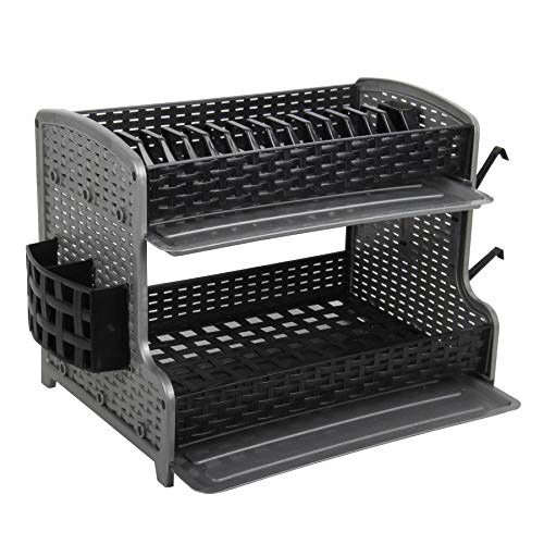 Galaxy 2 Tier Large Dish Drainer Rack Tray Utensil Cutlery Kitchen Plastic (Black)