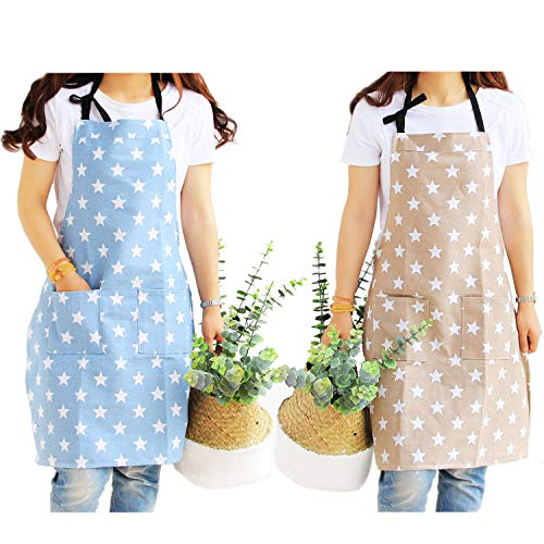 QIPNVY Cooking Aprons for Women, Chefs Kitchen Apron with Two Large Pockets, Fashion Star Pattern Cute Aprons for Home Kitchen, Restaurant Cooking, Coffee House, BBQ, Garden Using