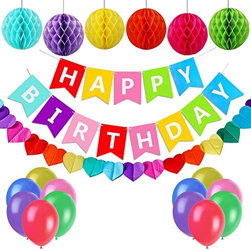 Rainbow Happy Birthday Banner Happy Birthday Decorations with Honeycomb Balls and Heart Garland Birthday Party Decorations
