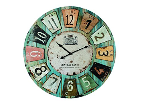ootb Reloj de Madera para Pared, Chateau, Aprox. 60 cm