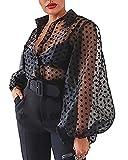 Camisa de Manga Larga para Mujer Top Blusa Transparente Casual con Lunares Crop Top Suelto de Punto de Moda Camiseta de Verano Primavera Negro M