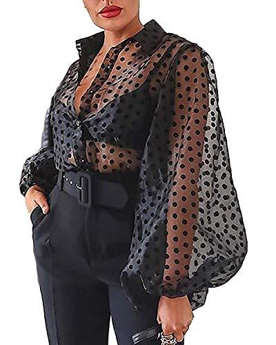 Camisa de Manga Larga para Mujer Top Blusa Transparente Casual con Lunares Crop Top Suelto de Punto de Moda Camiseta de Verano Primavera Negro L