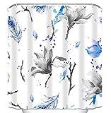 SCVBLJS Duschvorhänge Graublaue Blumen Badezimmer wasserdichte Polyester-Badewanne Anti-Mehltau-Badvorhang 180X200Cm