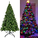 Juegoal Artificial Christmas Tree with LED String Lights (NOT Pre-Strung) 8 Lighting Modes Fake Xmas...