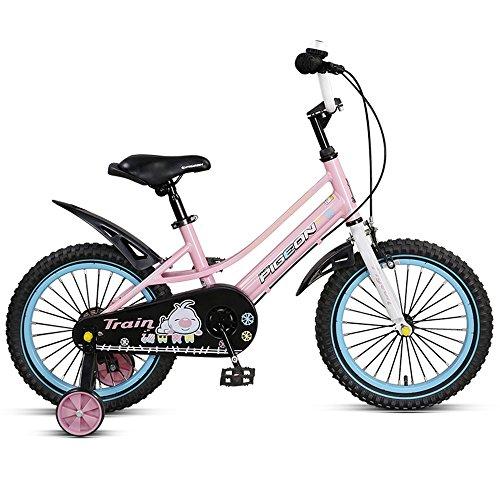 Children's bike Bicicleta de los niños, Marco de la aleación de Aluminio, 14/16 Pulgadas varón y Ciclo Femenino, 3-6 años Regalo de cumpleaños del bebé (Color : Pink, Tamaño : 14 Inch)