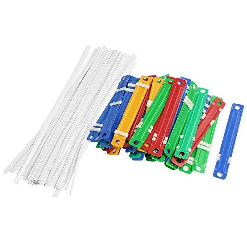 TOOGOO(R) 50 piezas de Fasteners Coloridos de plastico Con dos piezas de papel de documento para oficina de la escuela