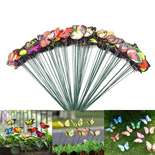 Estacas de Mariposas Jardín, DBAILY 100pcs Colorido Mariposas Adornos Miniatura Ornamento Jardin para Decoración Patio Planta Yarda Exterior(Colores Mezclados)