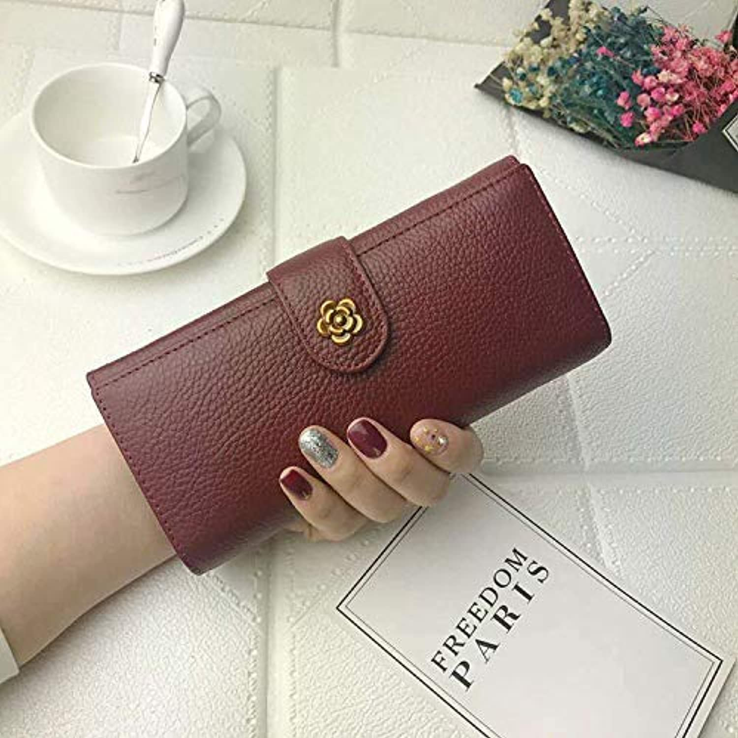 Europe and The United States Retro Long Wallet Female Leather Wild Change Clutch Bag Wallet (color   Wine red) Ladies Purses (color   Wine Red)