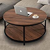 "NSdirect 36"" Round Coffee Table, Rustic Wooden Surface Top & Sturdy Metal Legs Industrial Sofa Table for Living Room Modern Design Home Furniture with Storage Open Shelf (Dark Walunt)"