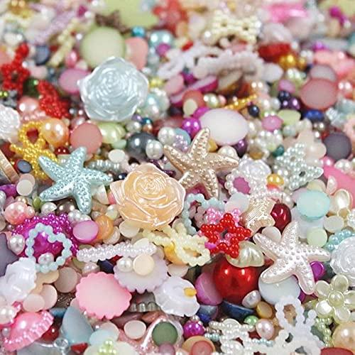 YYAOO 200 cuentas sueltas para hacer joyas, perlas semiredondas, lazo, rosa, diamantes de imitación, cuentas para hacer joyas, manualidades