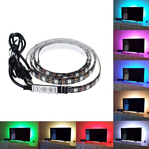 TV Backlight USB LED Light, 2m(6.56ft) 60 LEDs Computer Monitor Case Decor Strip Light/Waterproof 5050 Multi-Color RGB Mini Controller Light Cable Kit for TV/PC/Laptop Background Lighting