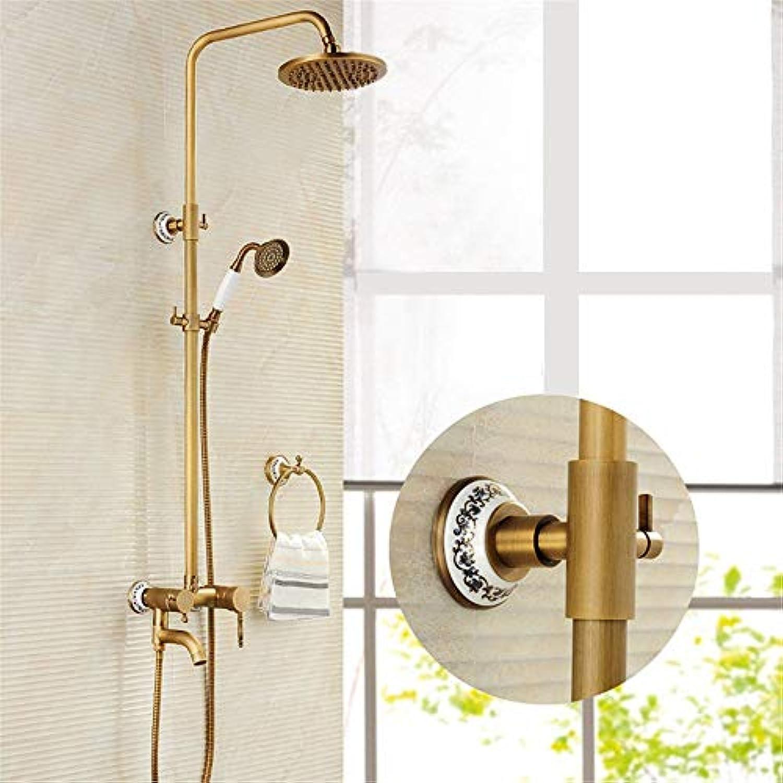 Reines Kupfer dusche Duschkopf Anzug antike voll Kupfer Wand Dusche Duschkopf mit groen Blaumen dusche Dusche einstellen