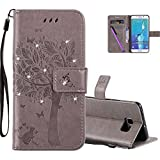 HMTECHUS Samsung Galaxy S6 Edge Plus Case 3D Crystal Embossed Cat Butterfly Bling PU Flip Stand Card Holders Wallet Cover for Samsung Galaxy S6 Edge Plus Wishing Tree Diamonds Gray KT