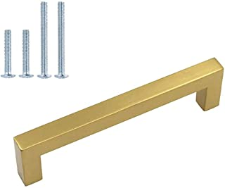 5 inch Cabinet Pulls Gold Cabinet Handles 6 Pack - homdiy HDJ12GD Gold Cabinet Hardware Bathroom Cabinet Pulls Square Kitc...