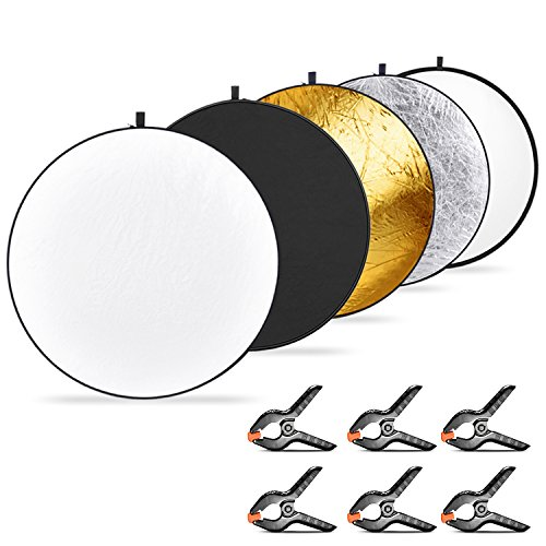 Neewer rund Faltreflektor Set 110 Zentimeter und 6 stück Baumwollstoff Hintergrund Federklemme, Lichtdurchlässig/Silber/Gold/Weiß/Schwarz Reflektor für Studio- oder Outdoorsfotografie
