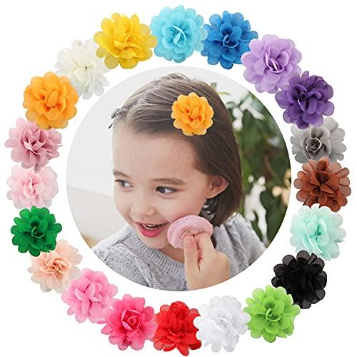 20 pinces à cheveux multicolore Discoball en forme de pétales de fleurs en mousseline de soie pour bébé ou petite fille