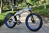 Shengmilo Bicicletas eléctricas de 26 Pulgadas, Bicicleta eléctrica de montaña Plegable, 1000W 48V13ah, batería de células, Bicicleta eléctrica, Bicicleta eléctrica para Hombres de Mujeres (White)
