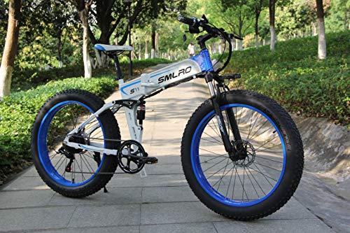 "Shengmilo - Mountain Bike Elettrica 1000W 48V, batteria 13Ah 624Wh, 26"", bianco"
